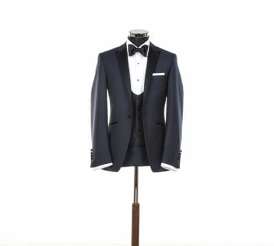wedding blue black tie suit