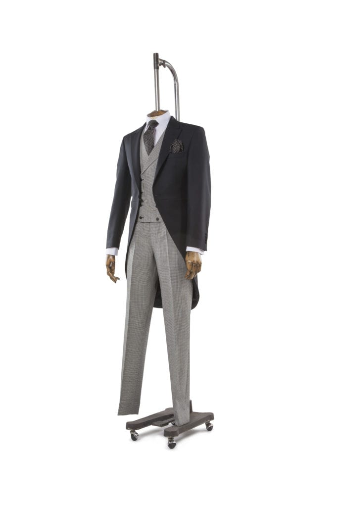grey dogtooth waistcoat and trousers with tails